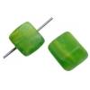 Glass Pressed Beads 8X10mm Cubes Green/Yellow Matt